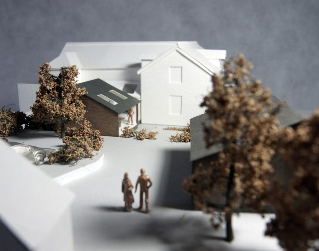 Southbrook, Great Ayton, North York Moors National Park. Existing dwelling remodelling, renovation, extension and garage. Isometric view of model.