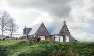 Tib Hill, North York Moors National Park. Pair of contemporary longhouses. Isometric View at Dawn