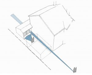 Garden Annex, Nottinghamshire. Sketch of sightlines
