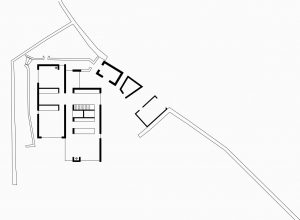 Tib Hill, North York Moors National Park. Pair of contemporary longhouses. Interior plan view
