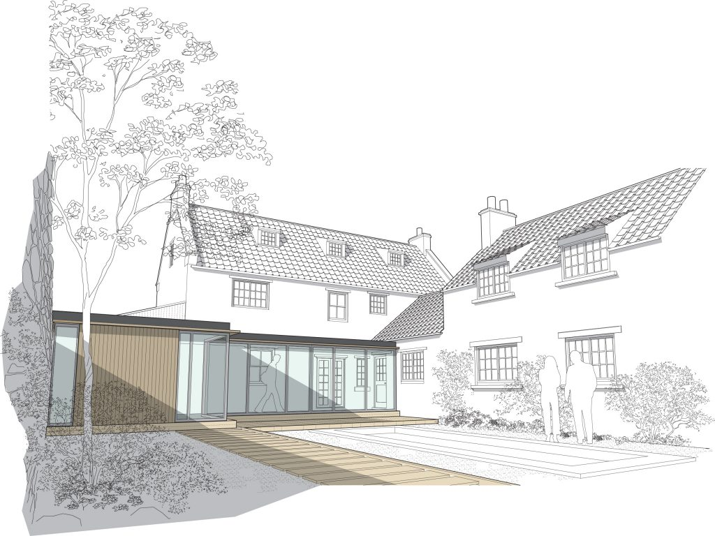 Church Lane Cottage, Hutton Buscel, Scarborough. Contemporary re-modelling and extension to Grade II listed cottage. Perspective View
