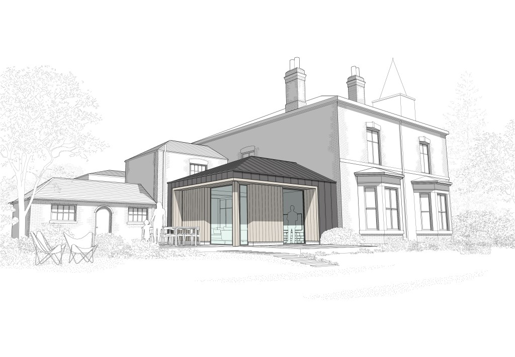 The Old Vicarage, Worlaby. Rear Perspective View